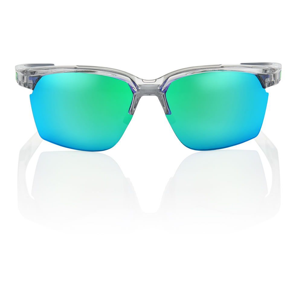 SPORTCOUPE – Shiny Transluscent Crystal Grey – Green Multilayer Mirror Lens