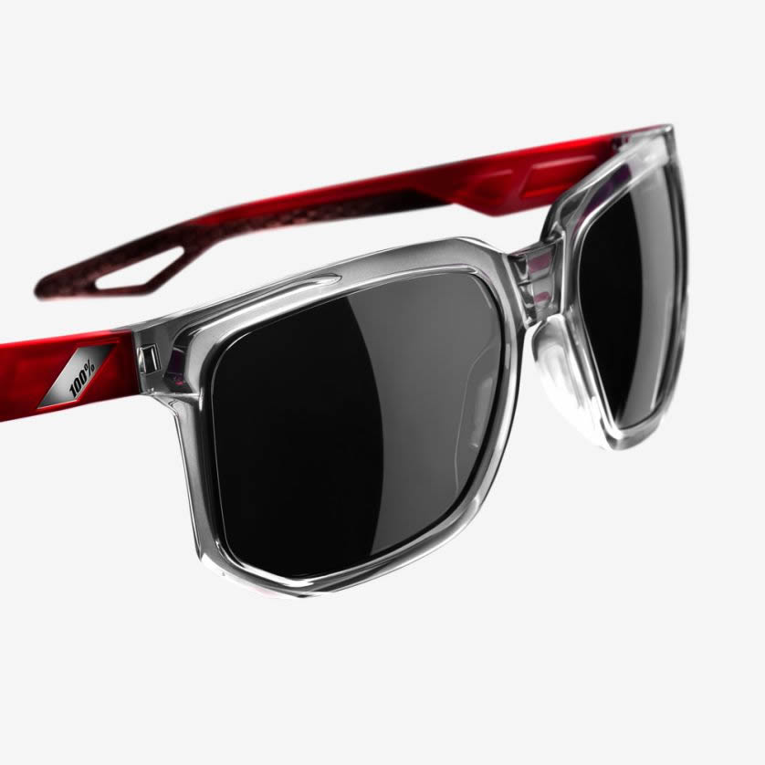 CENTRIC – Polished Crystal Grey / Polished Crystal Red Temples – Smoke Lens