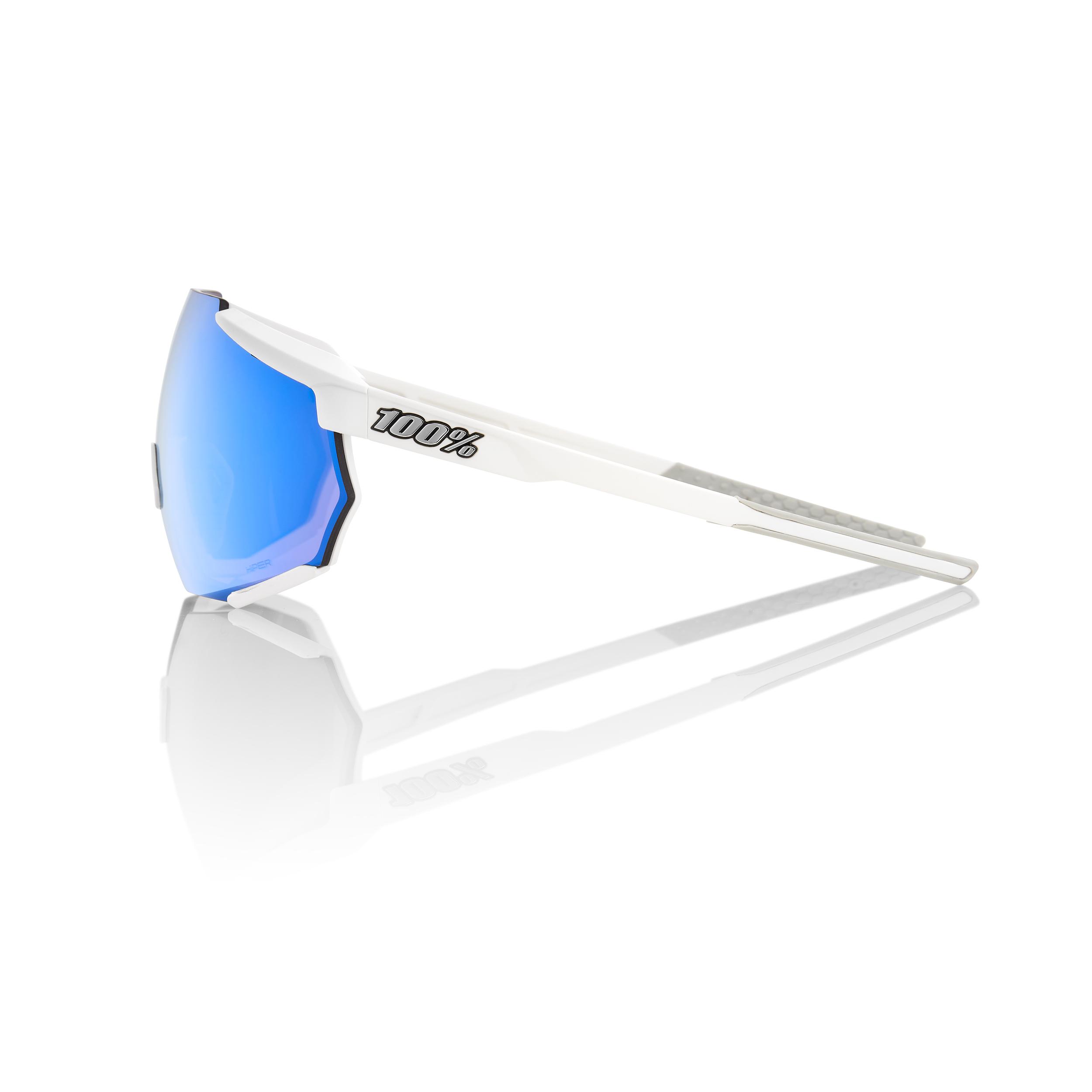 RACETRAP – Matte White – HiPER Blue Multilayer Mirror Lens